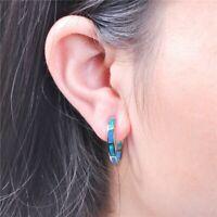 Frauen Opal Creolen Klapp Stein 925er Sterlingsilber Ohrringe Damen Ohrschmuck