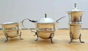 Delightful Mappin & Webb Silver Plate Open Salt Mustard Pot Pepper Shaker Set