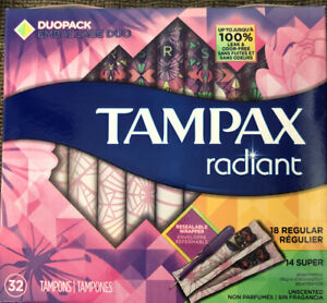 Tampax Tampons Radiant Duo-Pack 32 Count (18 Regular 14 Super) SEALED BOX