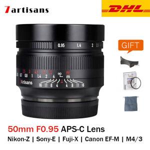 7artisans 50mm F0.95 APS-C Large Aperture Lens for Canon Nikon Sony Fujifilm M43