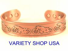 Motorcycle Themed Pure Copper Wide Designer Magnetic Bangle Cuff Bracelet CM418