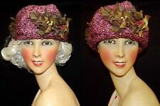 New listing Antique Vtg Post Edwardian Teens Rare Purple Straw Lg Crown Holly Trim Dress Hat