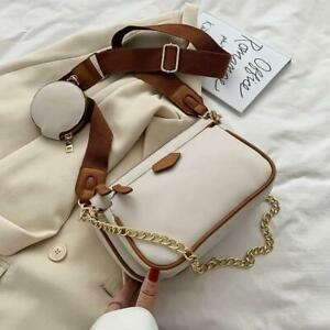 PU Leather Shoulder Bags 3 in 1  Women's Handbags Chains Crossbody Chain Purse
