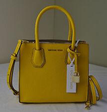 Michael Kors Sunflower Yellow Pebble Leather Mercer Medium Messenger Satchel