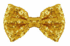 "NEW Gold Sequin Hair Bow - Medium 4"" x 3"" - Stunning  - Girls & Ladies Hair Bow"