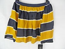 Zara Mustard and Navy Striped Bardot Top Size XS UK8 Off the Shoulder
