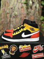 Nike Air Jordan 1 Mid SE Black Amarillo Orange Raygun Men's Size 11 852542-087