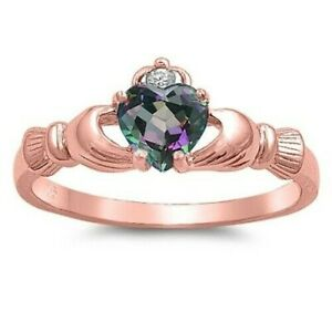 Claddagh Ring Sterling Silver 925 Rose Gold Plated Rainbow CZ Height 9 mm Size 9