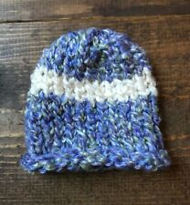 Newborn Baby Winter Hat-Handmade-Lilac Purple-Ivory-Striped-Cap-Beanie-Knit-New