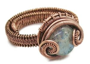 Adjustable Labradorite Wire-Wrapped Ring in Copper
