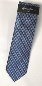 New Sean John Men's Retro Houndstooth Blue 100% Silk Neck Tie NWT MSRP $59