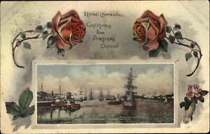Rose Carnival Portland Oregon Lower Harbor~sailing ships tugs~1910 Trans Clk