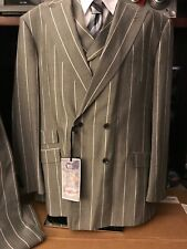 Tiglio Rosso Suit& Vest 50L X 44L 3 Pcs. Gray Black/ White Pinstriped 100% Italy