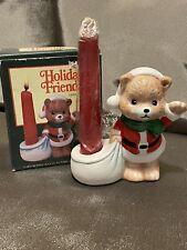 Vintage Holiday Friend Figurine Candle Holder Santa Bear