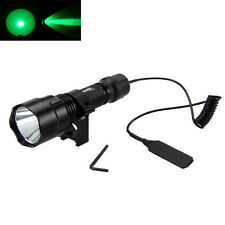3000Lm Green LED Flashlight Torch Light Hunting Rifle+Pressure Switch Mount