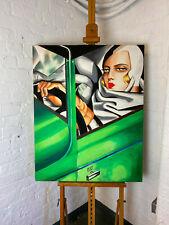 Art Deco Portrait Replica 'Tamara in a Green Bugatti' Oil on Canvas Neil Wardle