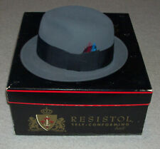 9508b88a424b5 1960s RESISTOL 707 JET ORBIT Kitten Finish BEAVER XXX FEDORA HAT   BOX 6 ...