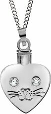 """HEART CAT FACE Pet Urn Locket Pendant Necklace on 20"""" Chain, by AngelStar 46506"""
