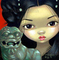 Fairy Face 109 Jasmine Becket-Griffith SIGNED 6x6 PRINT chinese guardian lion