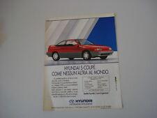 advertising Pubblicità 1991 HYUNDAI S-COUPE' SCOUPE'