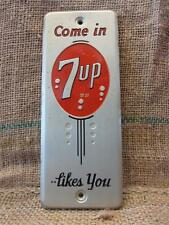 Vintage 1950s Metal 7up Door Push Sign > Antique Old Cola Soda Pop Store 7830