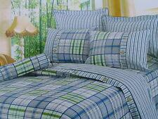 Cotton Queen Size Blue&Green Plaid Comforter Cover Bedding Set 7PC