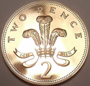 Super Cameo Proof Great Britain 1993 2 Pence~Welsh Plume~100,000 Minted~Free Shi