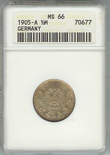 Germany - 1/2 Mark 1905A MS66 - ANACS Certified