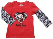 Neu! Betty Boop Motiv Stretch Langarmshirt Longsleeve Shirt rot 116