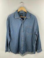 Reunion Menswear Vintage Men's Long Sleeve Denim Shirt - Size Large Blue