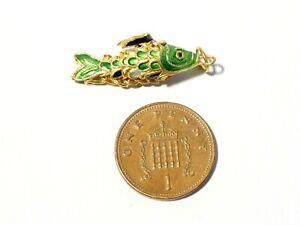 Vintage Articulated Gilt & Green White Blue Enamel Fish Pendant / Charm #LB37