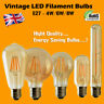 LED E27 Edison Filament Bulb Light Retro Vintage Screw Light Lamp 2/4/6/8W   UK
