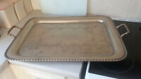 HUGE  ANTIQUE SILVER PLATED SERVING TRAY INSCRIBED SCOTTISH LIFE INSURANCE 1912