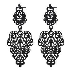 Women Fashion Black Alloy Pierced Long Dangle Drop Earrings Bohemian Jewelry New