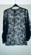 Alexander McQueen blouse/ top sheer black lace uk size 6- 8