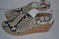 WOMEN'S Donald J Pliner Fleur-2 Wedge Sandal SHOES TAUPE SNAKE SZ 8.5 M $225 NEW