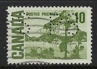 Perfin P19-PS (Province of Saskatchewan): Scott 462, 10c Centennial, Position 1