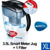 BRITA Elemaris XL MAXTRA+ Plus 3.5L Water Filter Table Top Jug + Cartridge Black