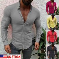 US Seller Mens Long Sleeve Slim Fit Casual T-Shirt Button-down Top Shirts