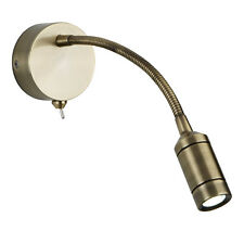 Searchlight LED Antique Brass Adjustable Flexible Arm Office Wall Reading Light