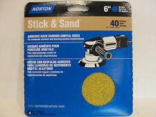 Norton 6 Inch Stick & Sand 40 Grit Coarse, 4 Discs, # 48911 *New*
