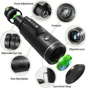 Day/Night Vision 40x60 Zoom High Power BAK4 Monocular Telescope Waterproof