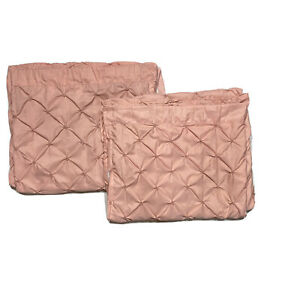 """Lush Decor Pin Tucked 2 Curtains Panels Drapes 84"""" Blush Pink Luxury Lined Pair"""