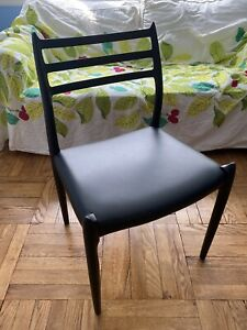 Moller Model 78 Side Chair, Beautiful Rare Ebony Frame, Black Leather, Mint Cond