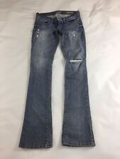 Guess Los Angeles Starlet Straight Legs Blue Womens Jeans Distressed Size 25X32