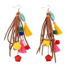 Handmade Vintage Stone Pom Pom Ethnic Earrings For Women Tassel Chain Leather