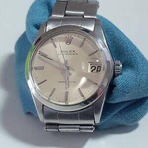 Vintage Rolex OysterDate Precision 31 mm Steel Manual Watch 6466 Circa 1966