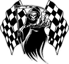 Racing Grim Reaper Skull Chequered Racing Flag Car Bike Van Sticker LSGRChq
