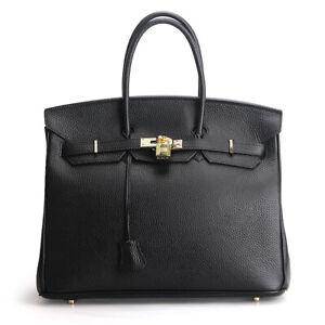 Women's 100% Genuine Leather BLACK Handbag Satchel Tote Crossbody Shoulder Bag