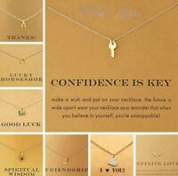 Gold Coloured Necklace Chain Pendant Gift Card Jewellery Hand Made 33 Designs